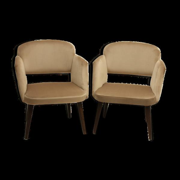 Paire de fauteuils en velours