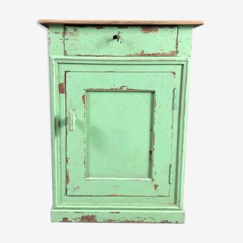 Ancien meuble d'appoint en bois, patine verte vieillie