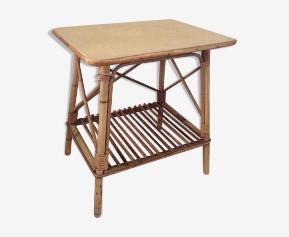 Table d'appoint bambou des années 60 en rotin