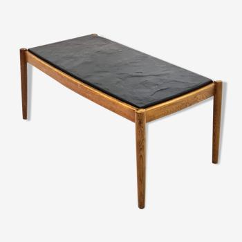 Mid century scandinavian oak and slate coffee table, 1960s