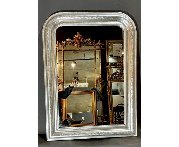 Miroir 98x68 cm argenté d'époque Louis-Philippe