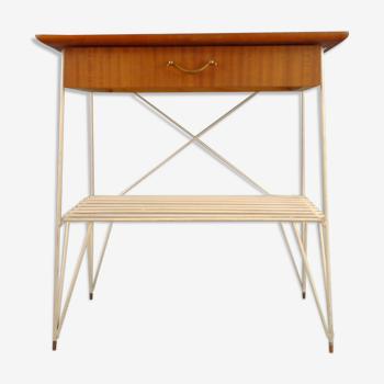 Table de couloir à cordes avec un tiroir. Années 1960. Suède.