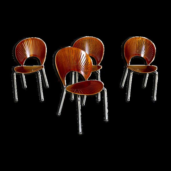 Set de 4 chaises de table model. 3298 Trinidad Nanna Ditzel Danemark 1960
