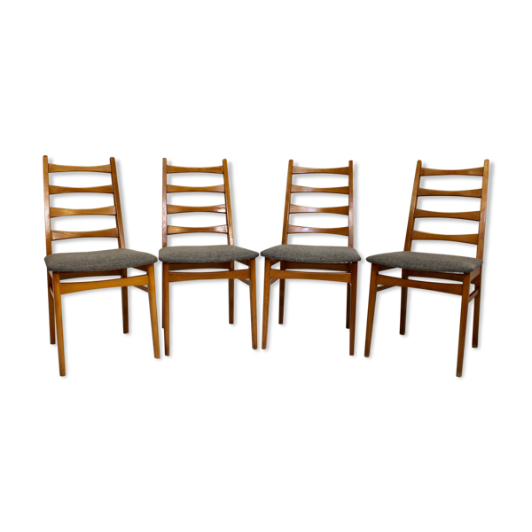 Selency Set de 4 chaises scandinaves années 50 restaurées tissu texturé effet chevron gris foncé