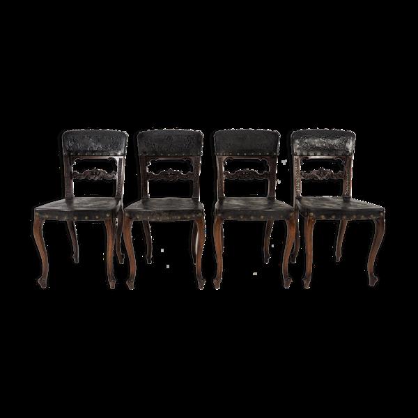 Selency Lot de 4 chaises rococo, 1880