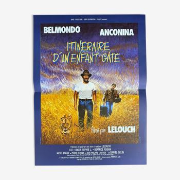 """Affiche cinéma originale """"Itinéraire d'un enfant gaté"""" Jean-Paul Belmondo 40x60cm 1988"""