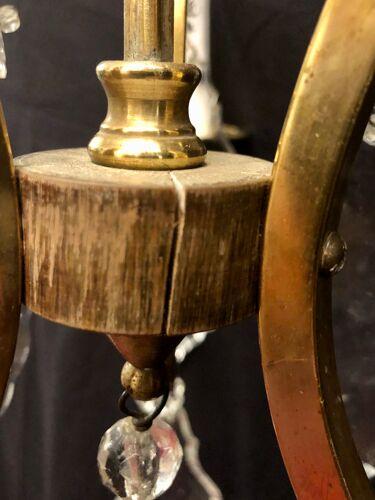Lustre cage 3 lumières cristal bronze laiton