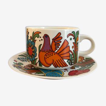 Tasse à thé et sa sous-tasse du modèle acapulco par villeroy et boch vers 1967 (11cm dia