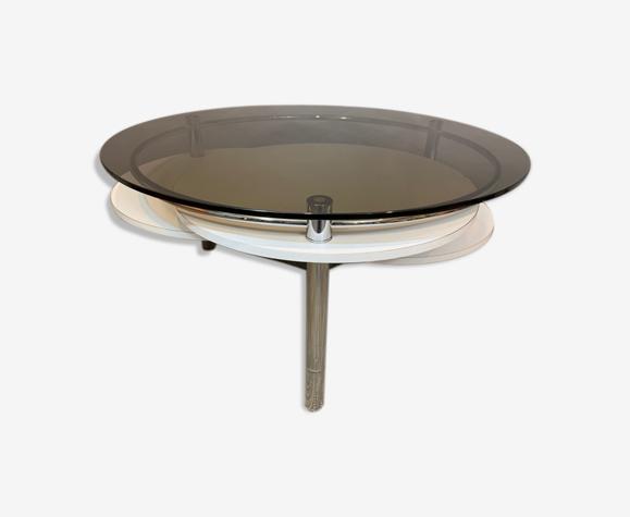 Table basse des années 1970 en verre fumé à cercle concentrique, chrome et formica