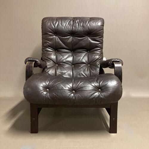Fauteuil cuir design scandinave 1960
