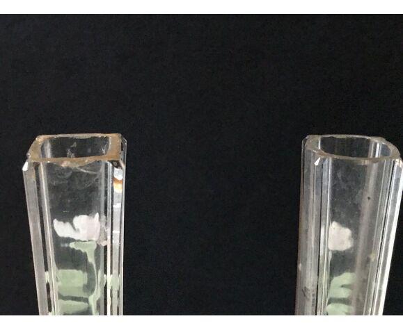 Paire vases 1900 soliflore cristal émaillé décor marguerites blanc et vert