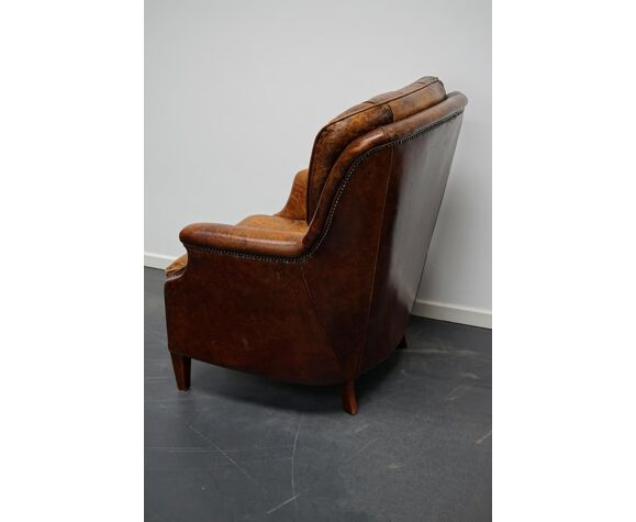 Fauteuil club vintage hollandais en cuir