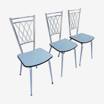 3 chaises vintage dossier en métal assise en formica 1970