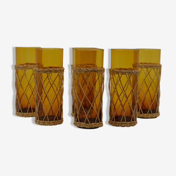 Set de 6 verres ambrés et rotin