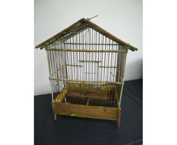 Cage à oiseaux ancienne en bois