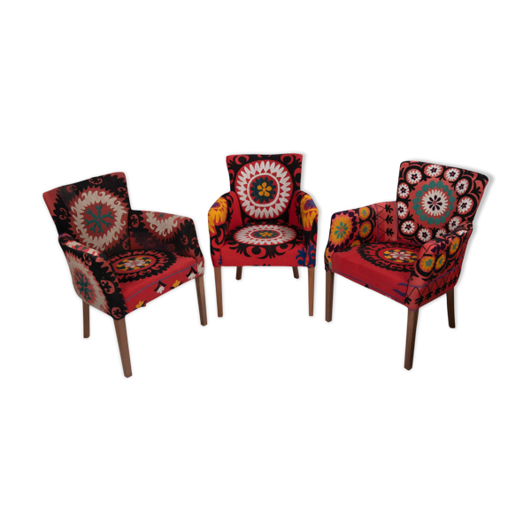 Selency Set Of Three Suzani Armchair Matching Unique Bergere