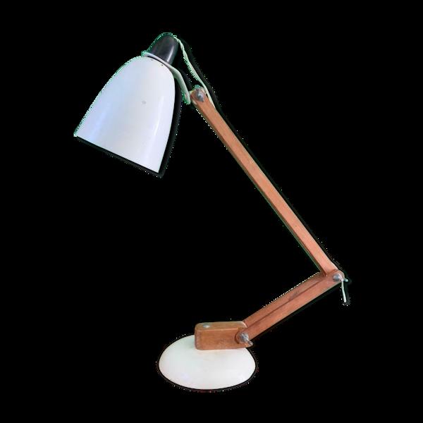 Lampe de bureau en bois blanc bras vintage Maclamp par Conran Habitat