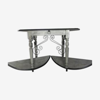 Console ancienne XIX étagère demi lune fer bois bureau table
