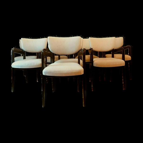 Suite de huit fauteuils design des années 60 en bois noirci XX siècle