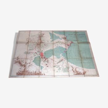 Carte sur toile Environs de Tunis et Carthage, 1878, Commandant Perrier