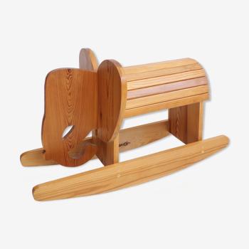 Elephant à bascule en bois vintage
