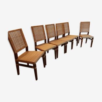 Lot de 6 chaises en rotin