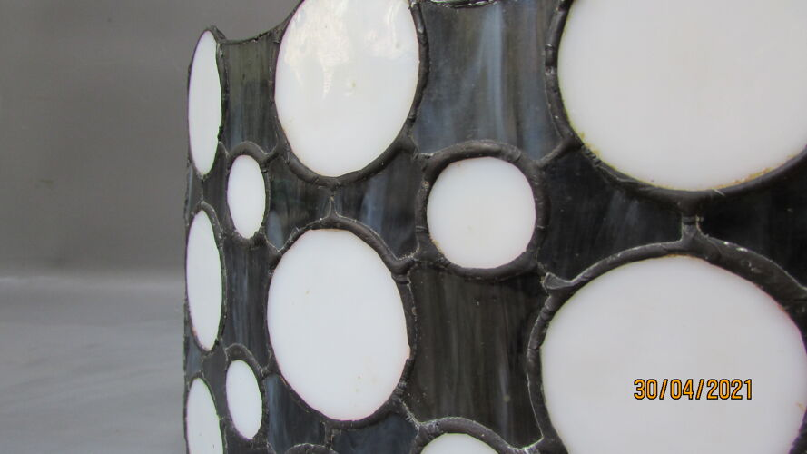 Black and white stained glass hanging