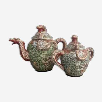 Ensemble à thé en porcelaine Japon au décor peint main dragon en relief, type Kutomi