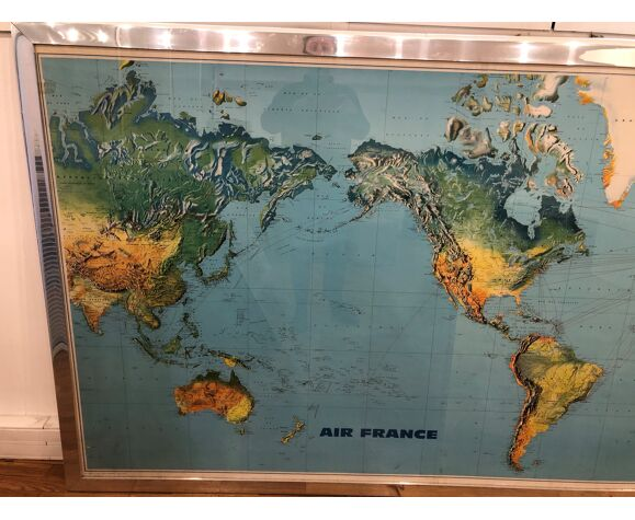 Ancien planisphère Air France Jean Massé