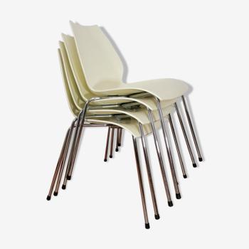 Lot de 4 chaises ivoire Maui par Vico Magistretti pour Kartell