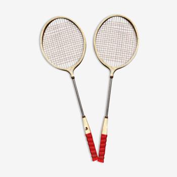 Paire de raquettes de badminton en métal