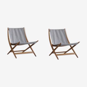 Paire de chaises pliantes danoises par Johan Hagen, 1958