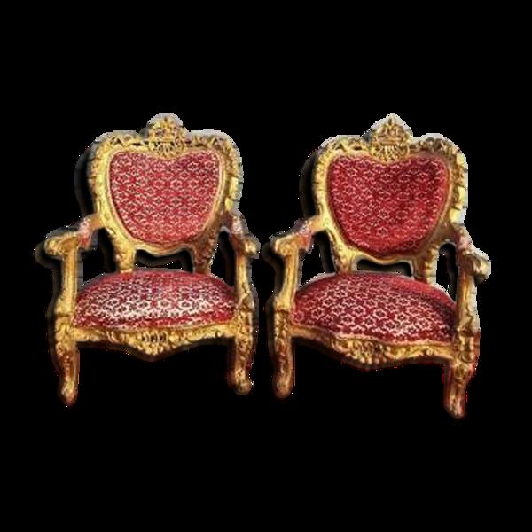 paire de fauteuils d'apparat en bois doré