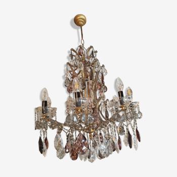 Lustre ancien 8 lumières en bronze et pampilles