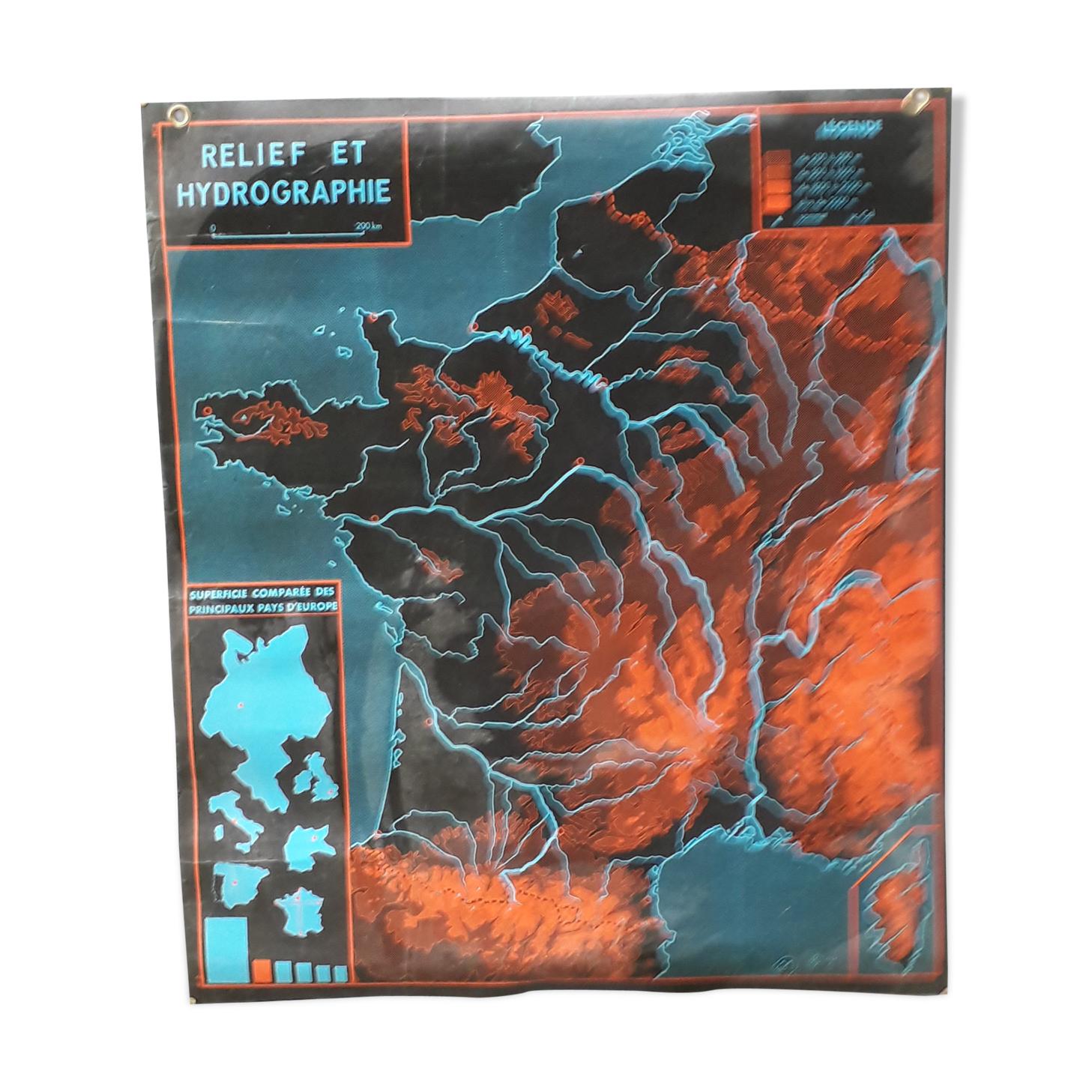 Affiche scolaire mdi 1964 contours de la France, relief et hydrographie