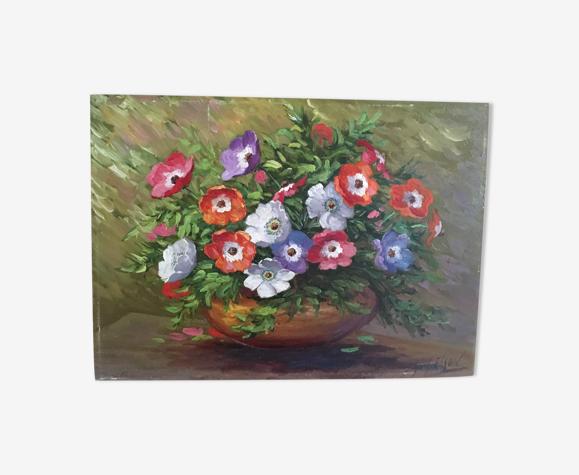Bouquet d'anémones dans un vase peinture sur panneau.