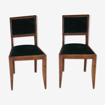 Lot de 2 chaises en bois velours vert très foncé