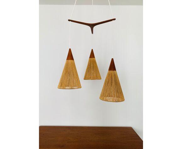 Lampe en cascade en bois de teck et raphia de Temde