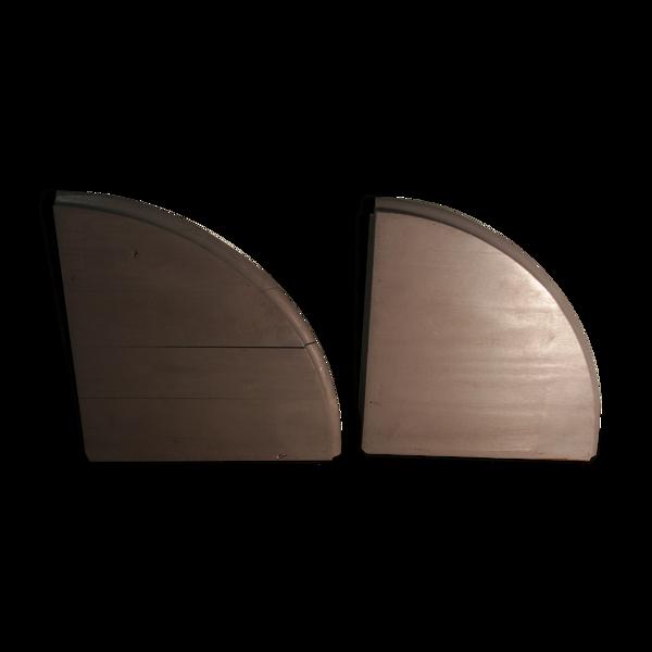Paire d'étagères d'angle  bois relooké gris