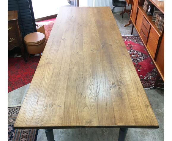 Table de ferme 2m50 pied tourné peint et plateau ciré