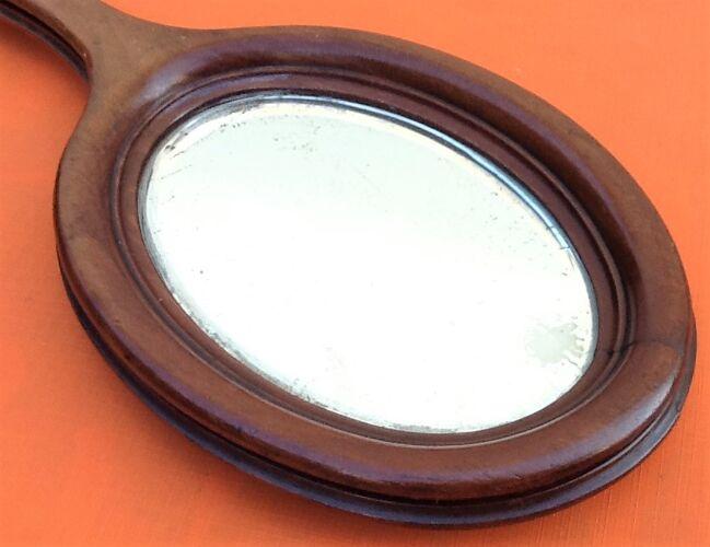Miroir face à main XIXème bois d' acajou glace biseautée...