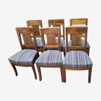 6 chaises en acajou de style Napoléon III