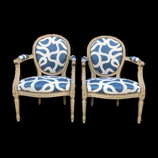 Selency Paire de fauteuils médaillons Louis XVI rénovés