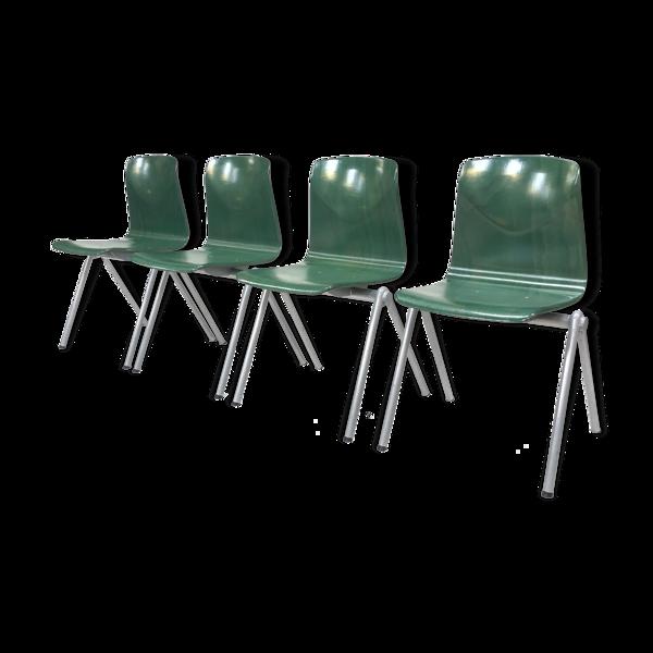 Chaises Pagholz d'école néerlandaise vert Galvanitas