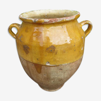 Pot à confit en terre cuite vernissée jaune fin 19 ème siècle