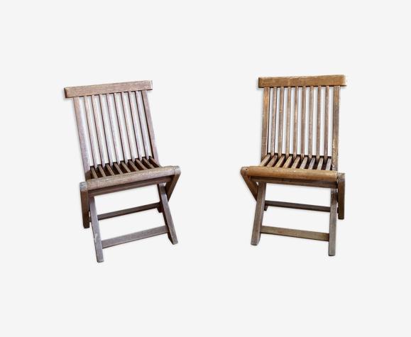 Paire de chaises en teck modèle enfant