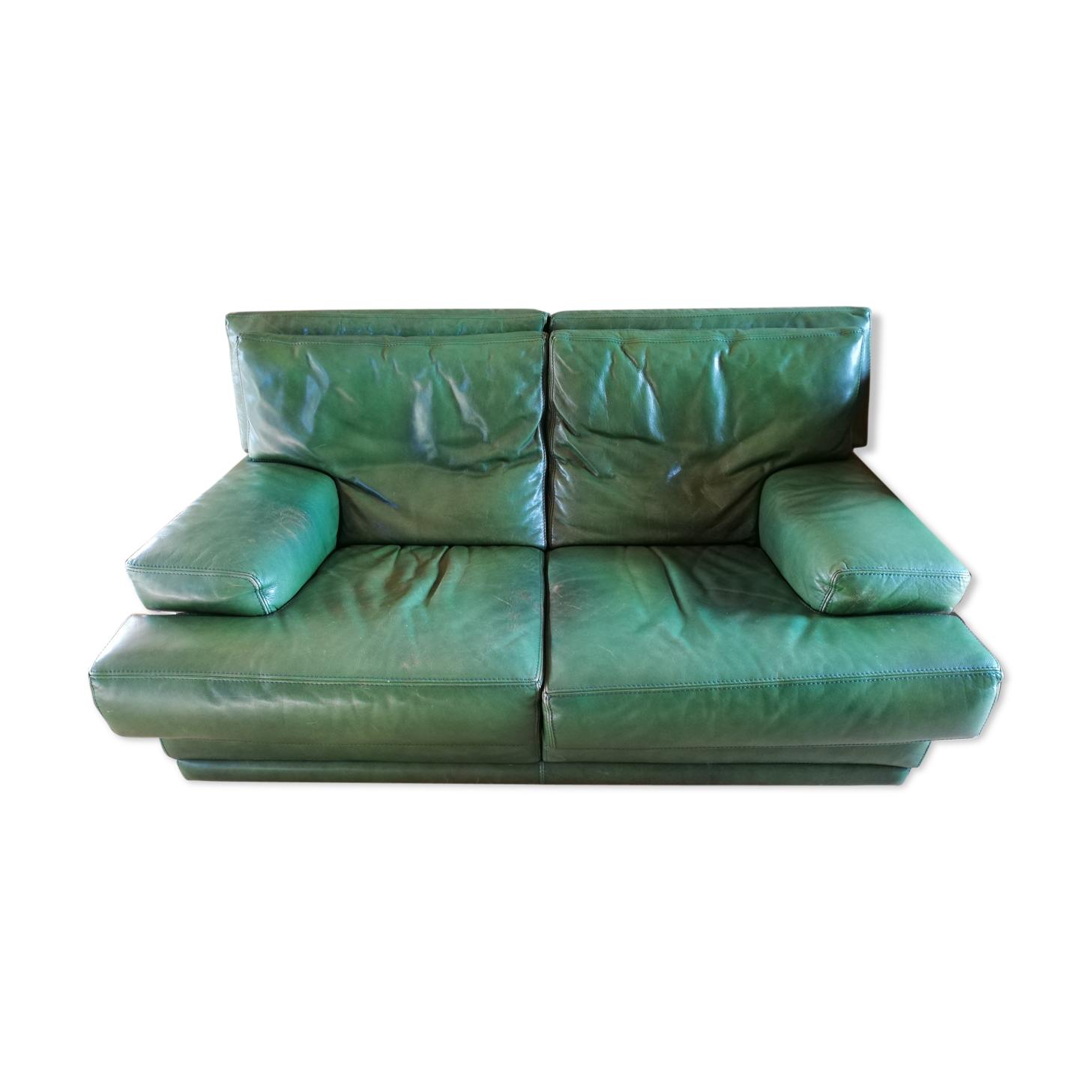 Canapé Roche Bobois cuir de buffle vert