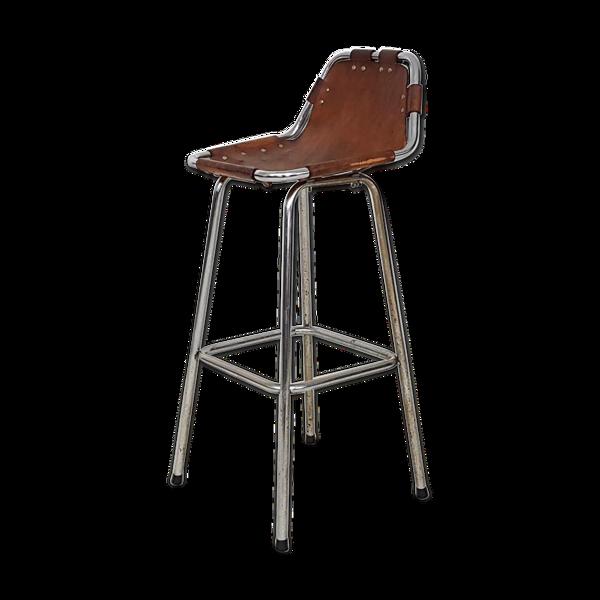 Tabouret de bar en chrome et cuir, France 1950