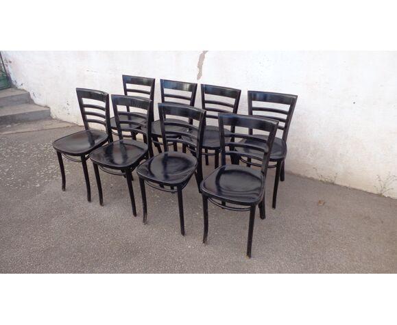 Set de 8 chaises hêtre noires