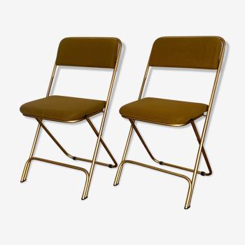 Chaises vintage pliantes Lafuma jaunes et dorées
